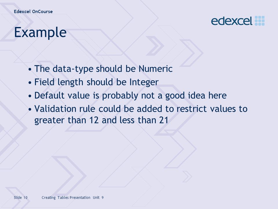 Example The data-type should be Numeric Field length should be Integer