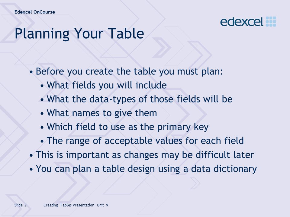 Planning Your Table Before you create the table you must plan: