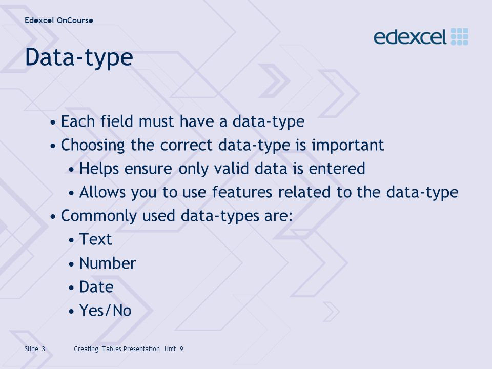 Data-type Each field must have a data-type