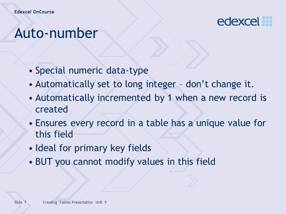 Auto-number Special numeric data-type