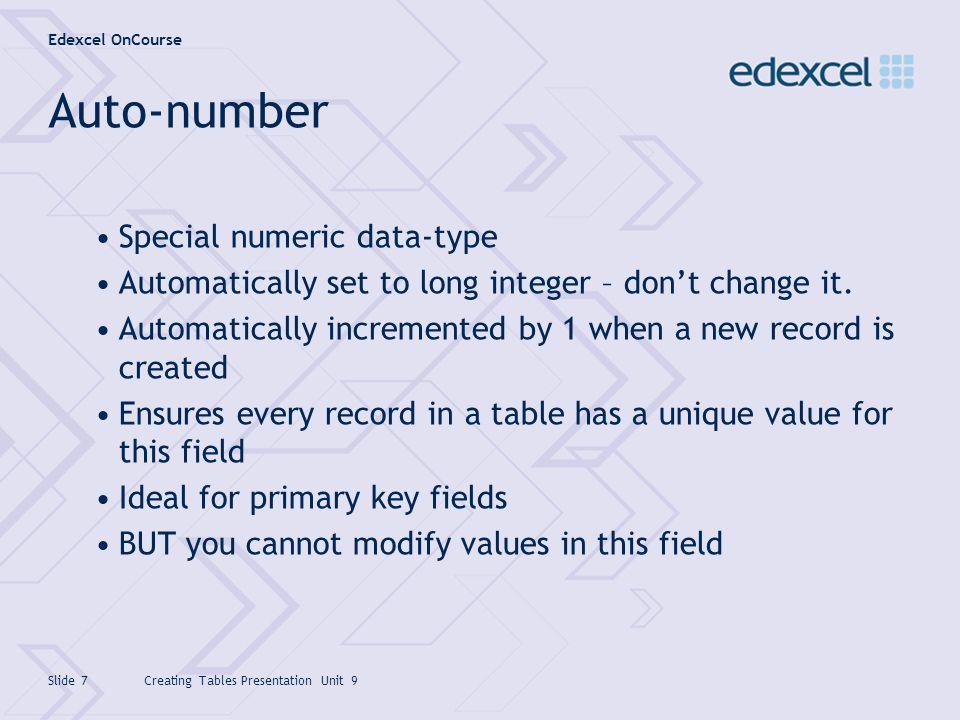 Auto-number Special numeric data-type