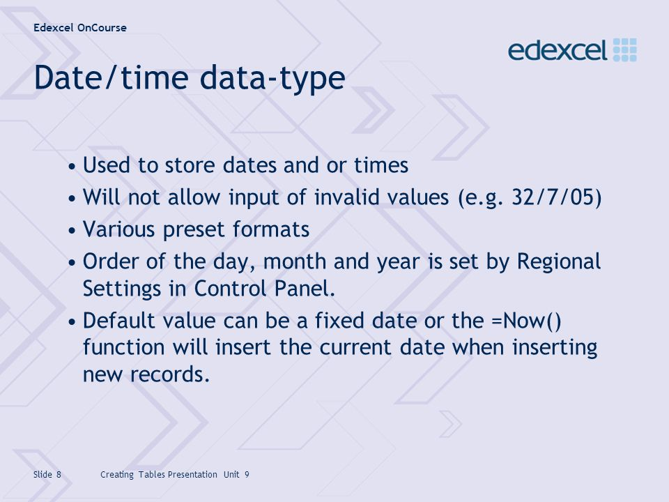 Date/time data-type Used to store dates and or times