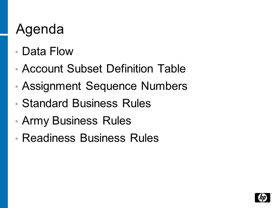 Agenda Data Flow Account Subset Definition Table