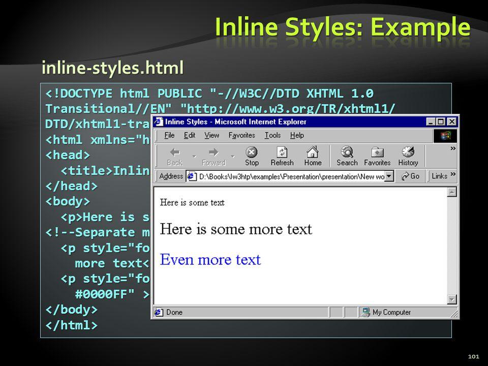 Inline Styles: Example