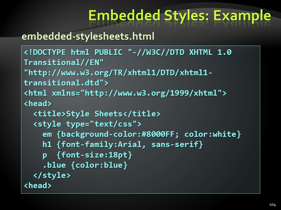 Embedded Styles: Example