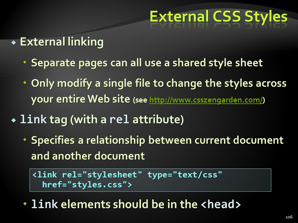 External CSS Styles External linking link tag (with a rel attribute)