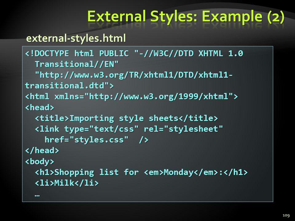 External Styles: Example (2)