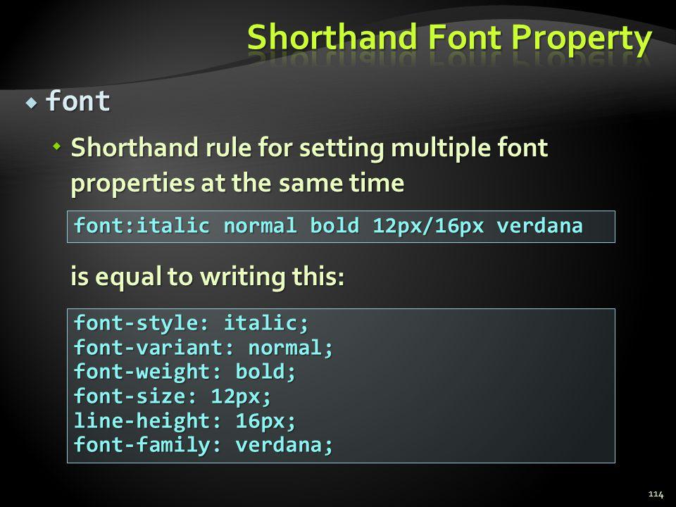 Shorthand Font Property