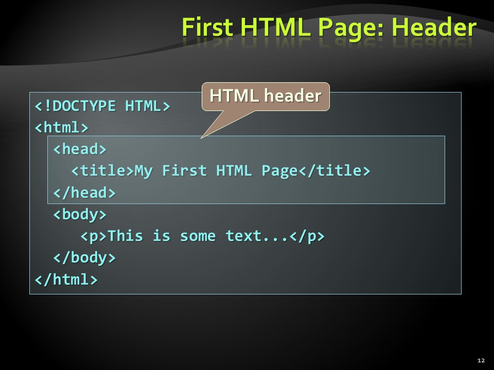 First HTML Page: Header