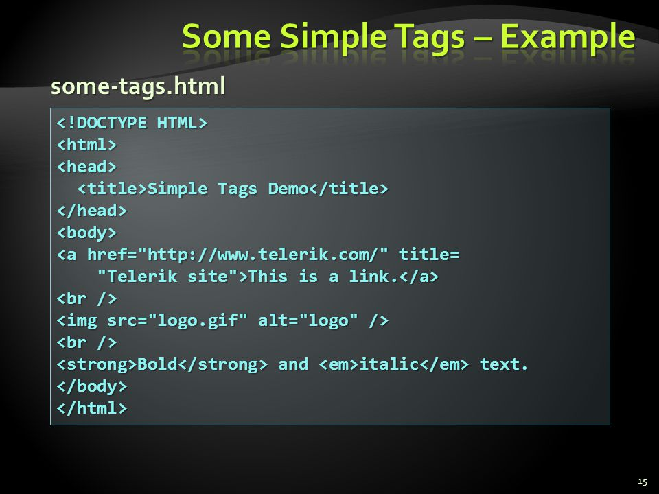 Some Simple Tags – Example