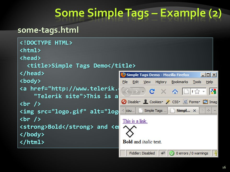 Some Simple Tags – Example (2)