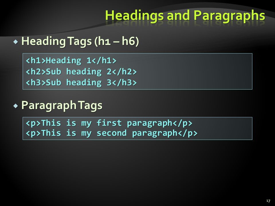 Headings and Paragraphs