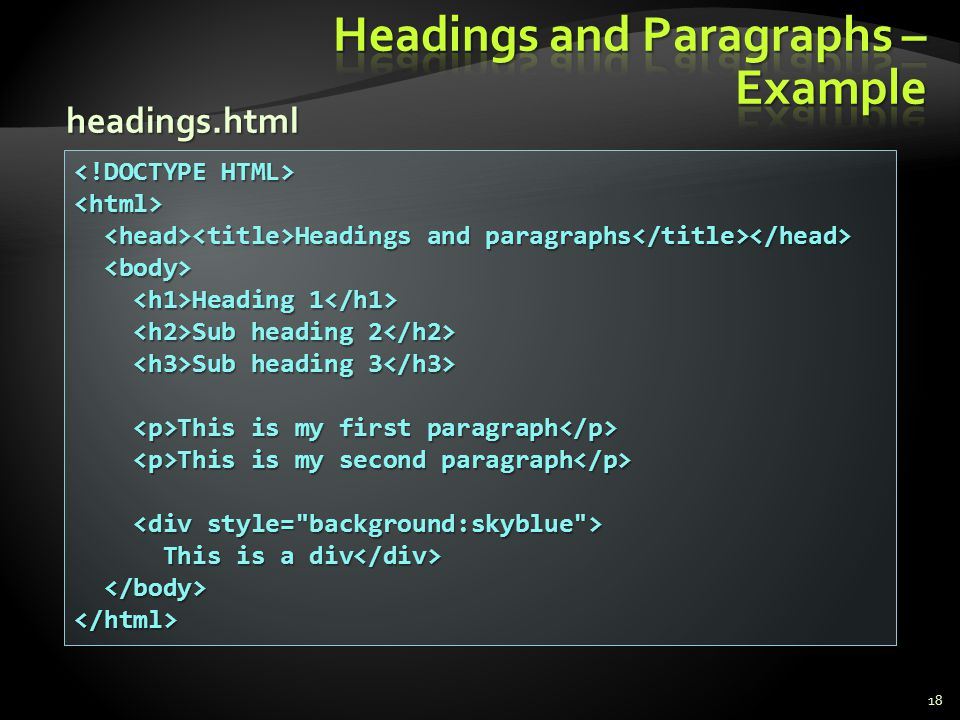 Headings and Paragraphs – Example