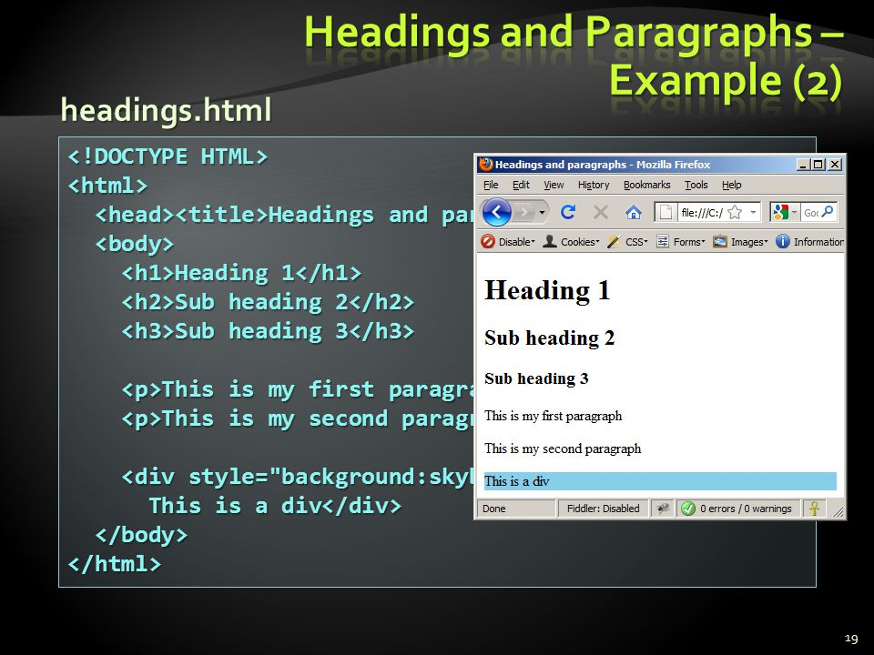 Headings and Paragraphs – Example (2)