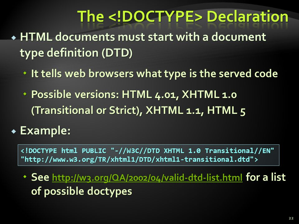 The <!DOCTYPE> Declaration