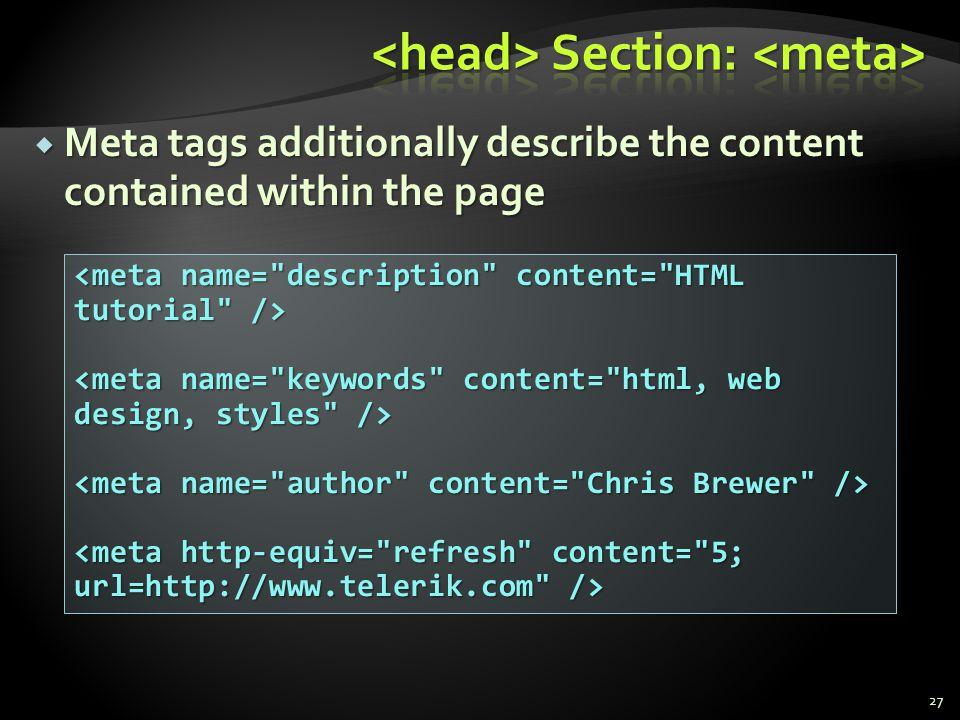 <head> Section: <meta>