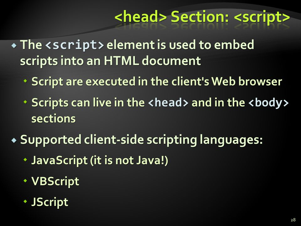 <head> Section: <script>
