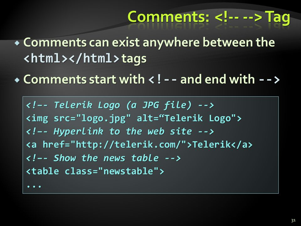 Comments: <!-- --> Tag