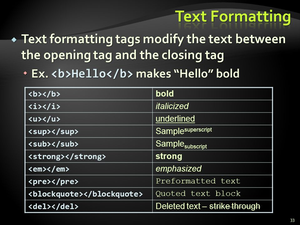 * 07/16/96. Text Formatting. Text formatting tags modify the text between the opening tag and the closing tag.
