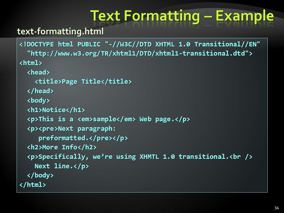 Text Formatting – Example