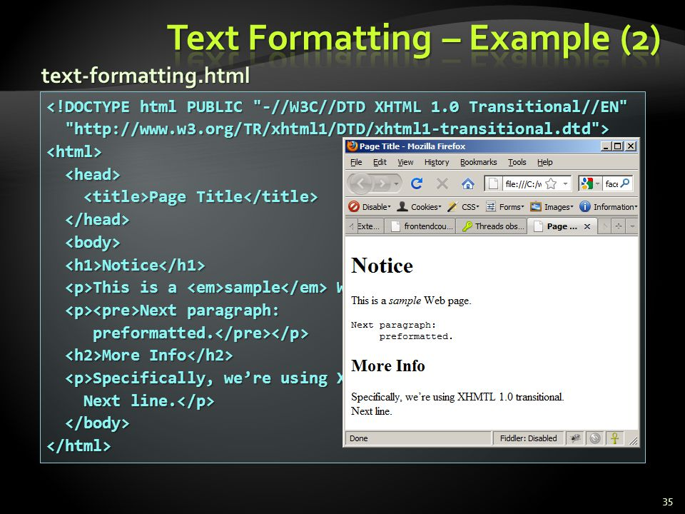 Text Formatting – Example (2)