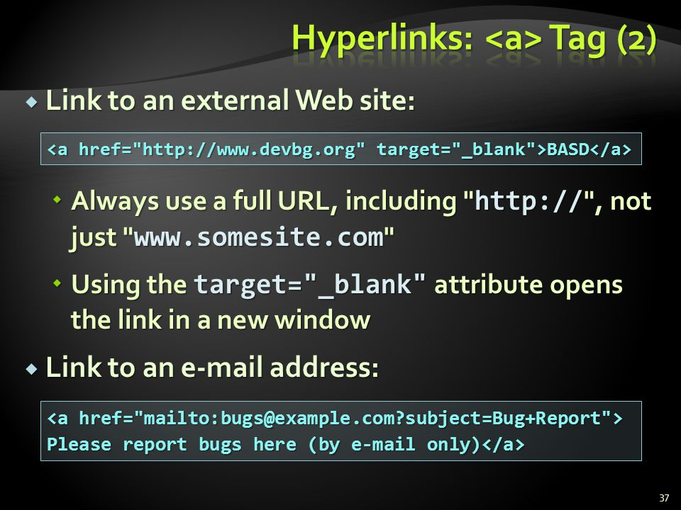 Hyperlinks: <a> Tag (2)