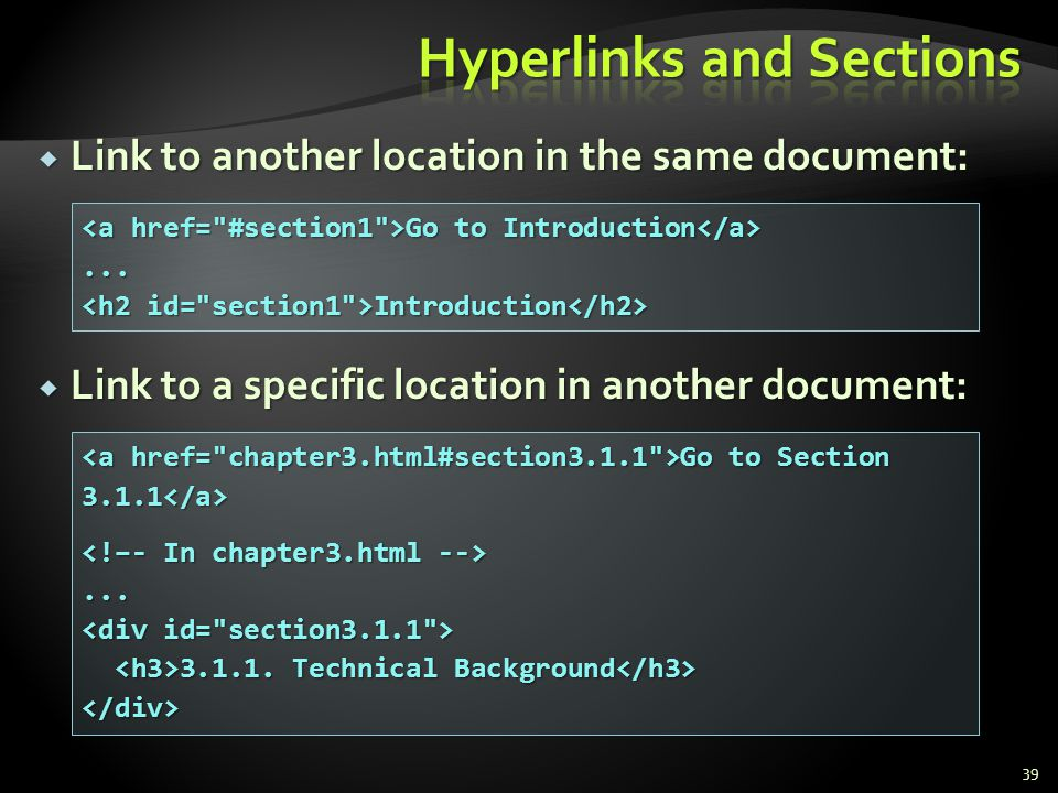 Hyperlinks and Sections