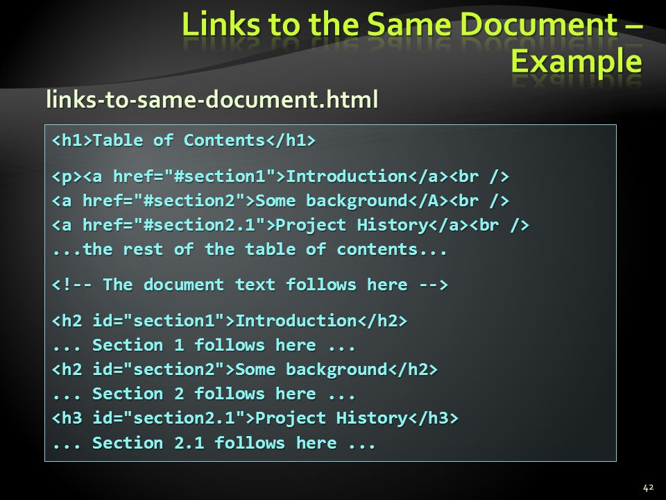 Links to the Same Document – Example