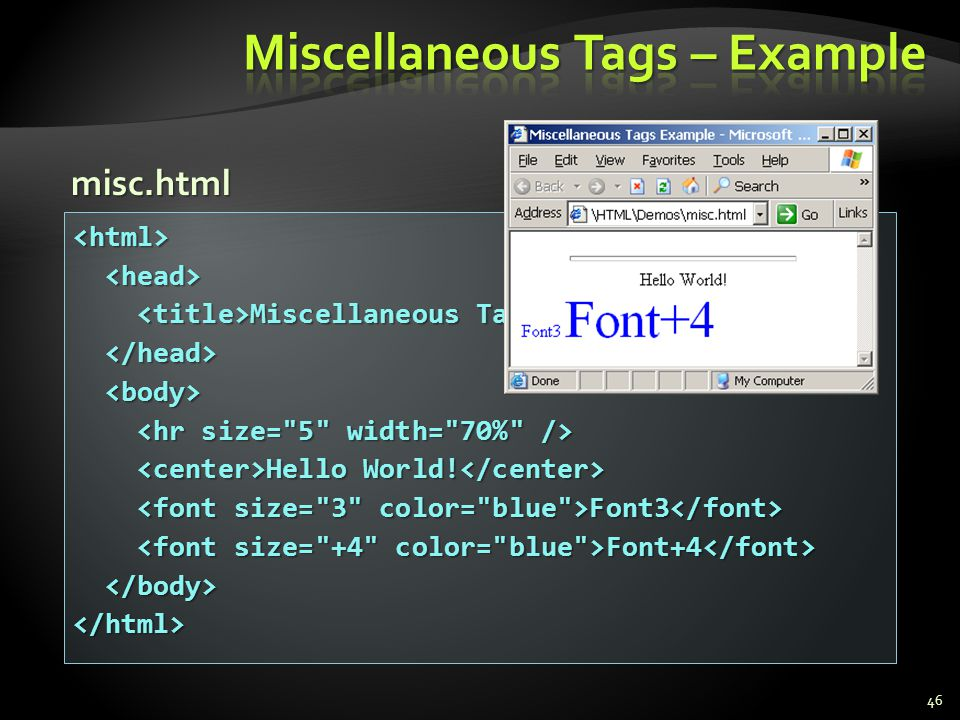 Miscellaneous Tags – Example