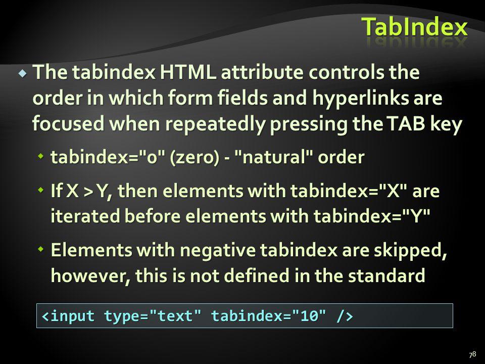 * 07/16/96. TabIndex.