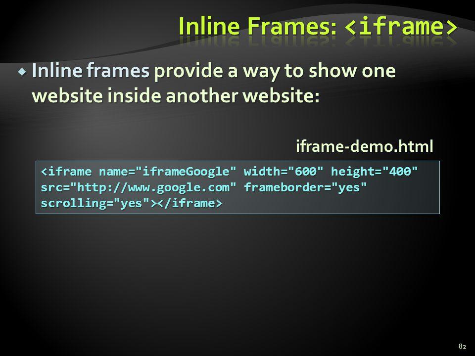 Inline Frames: <iframe>