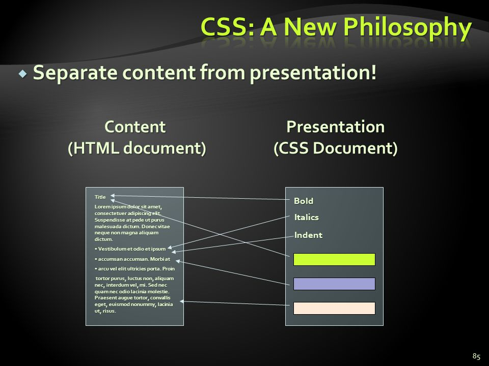 CSS: A New Philosophy Separate content from presentation! Content