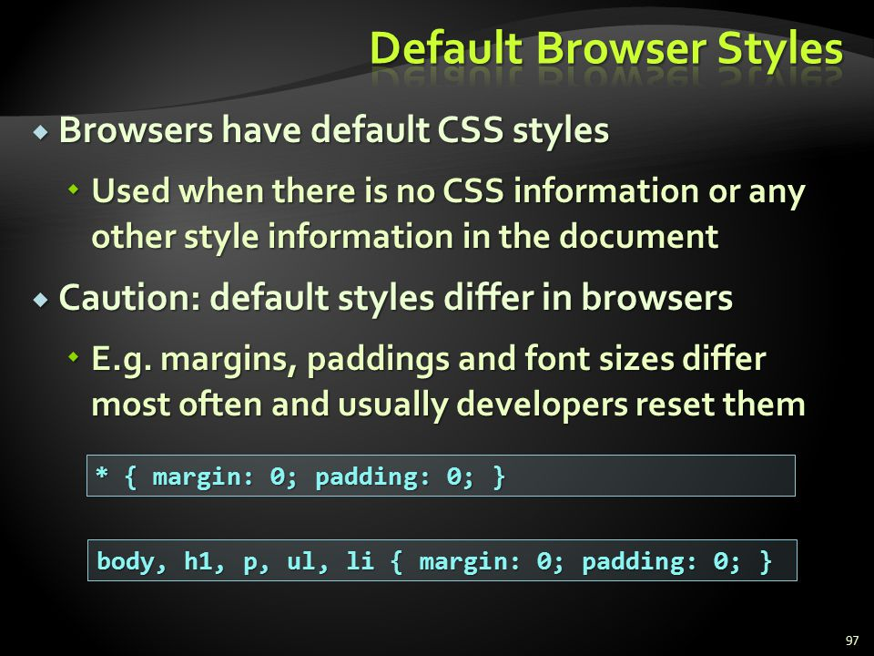 Default Browser Styles