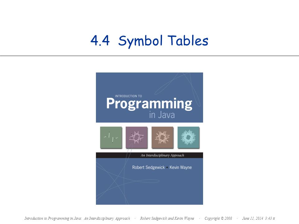 4.4 Symbol Tables