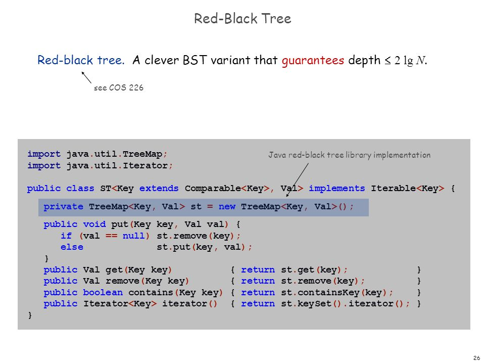 Red-Black Tree Red-black tree. A clever BST variant that guarantees depth  2 lg N. see COS 226. import java.util.TreeMap;