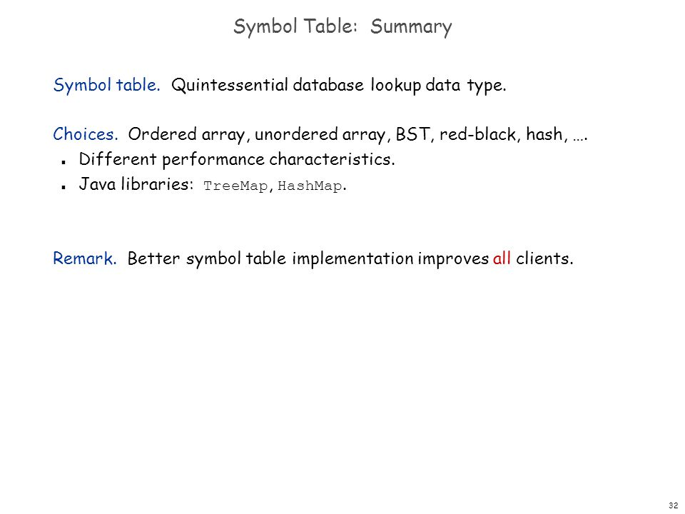 Symbol Table: Summary Symbol table. Quintessential database lookup data type. Choices. Ordered array, unordered array, BST, red-black, hash, ….