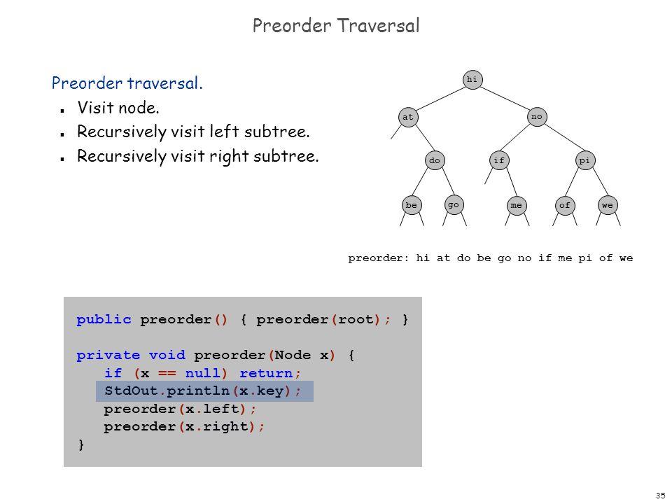 Preorder Traversal Preorder traversal. Visit node.