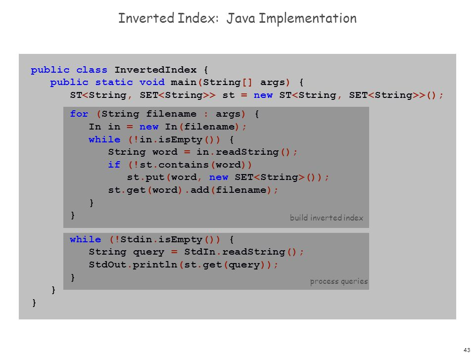Inverted Index: Java Implementation