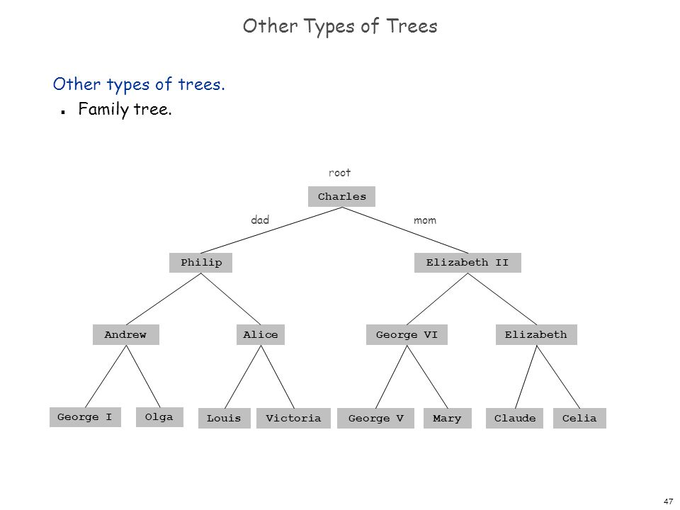 Other Types of Trees Other types of trees. Family tree. root Charles
