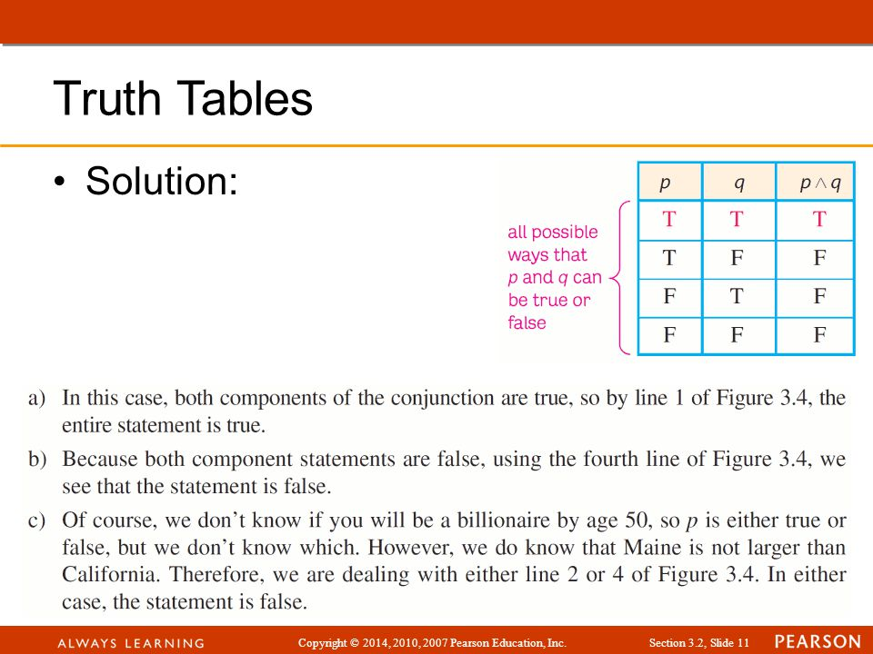 Truth Tables Solution: