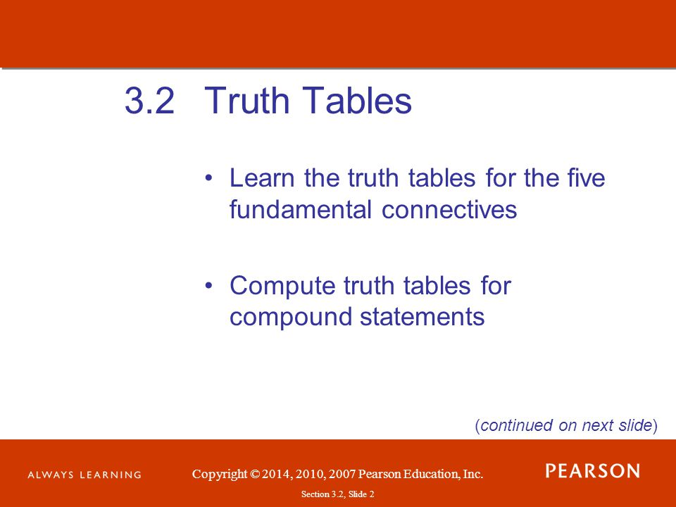 3.2 Truth Tables. Learn the truth tables for the five fundamental connectives. Compute truth tables for compound statements.