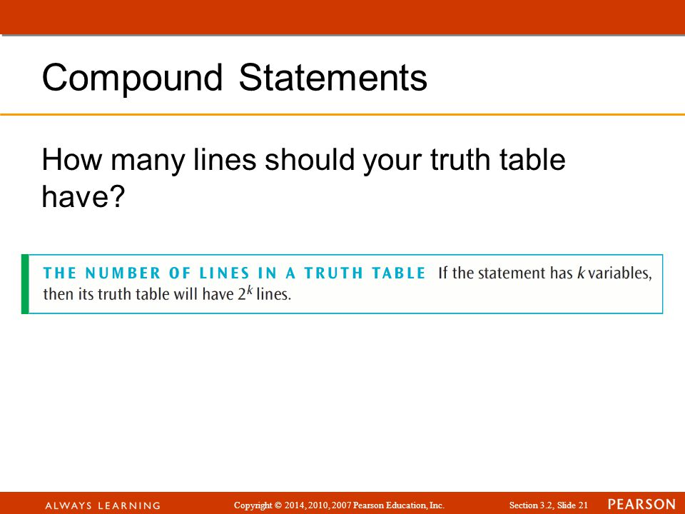 Compound Statements How many lines should your truth table have