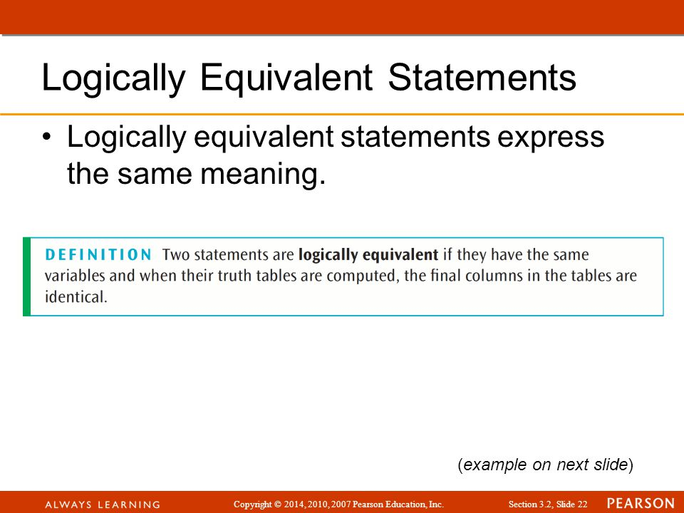 Logically Equivalent Statements