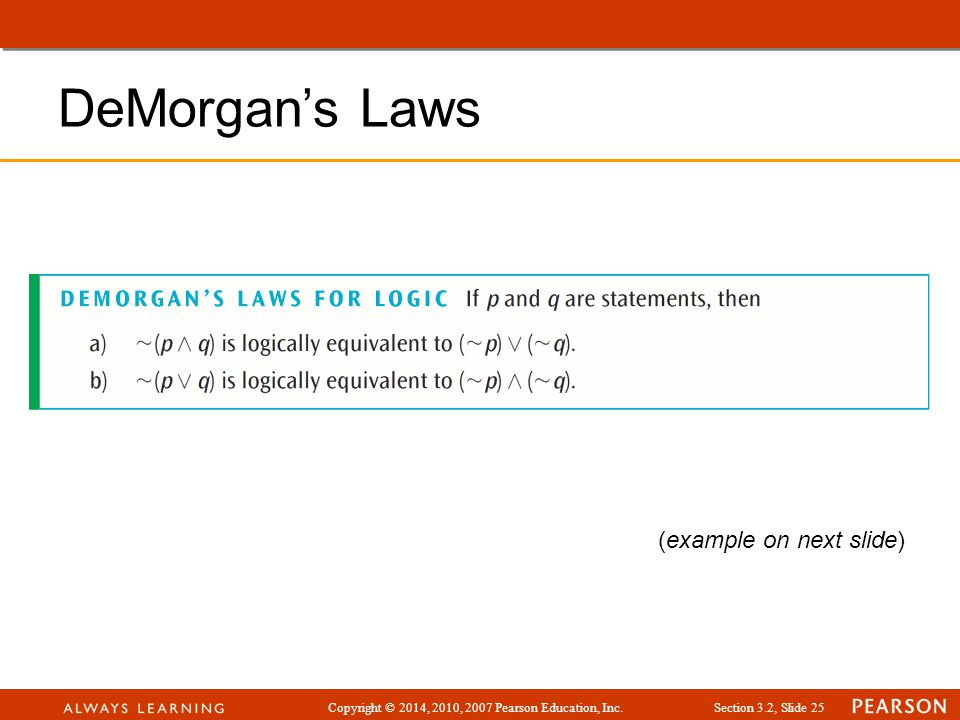 DeMorgan's Laws (example on next slide)