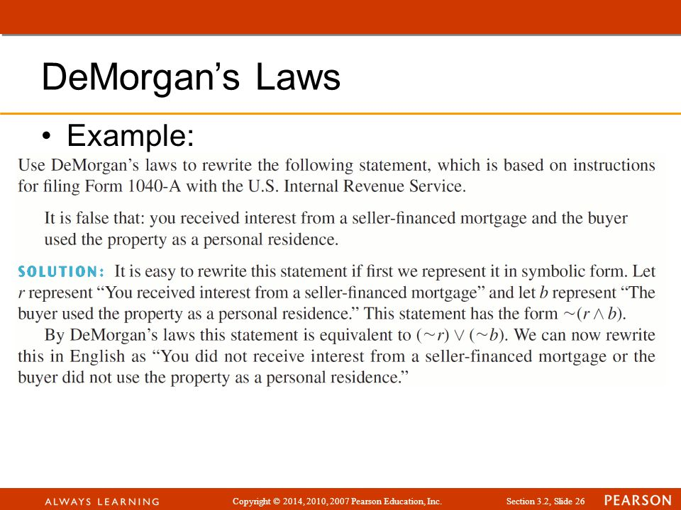 DeMorgan's Laws Example: