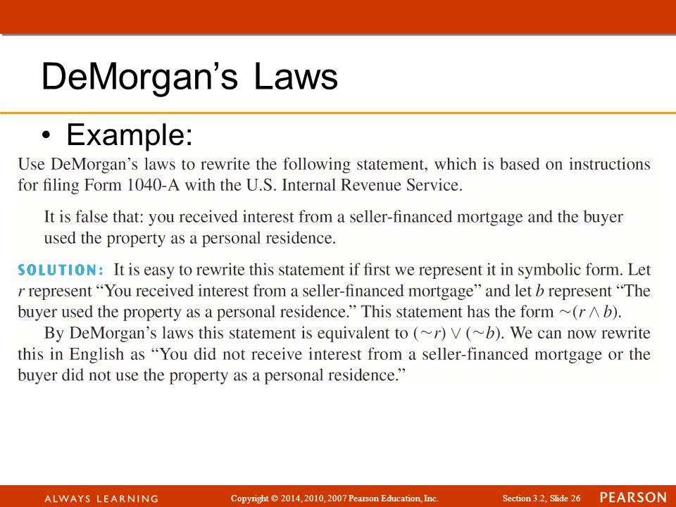 DeMorgan's Laws Example: