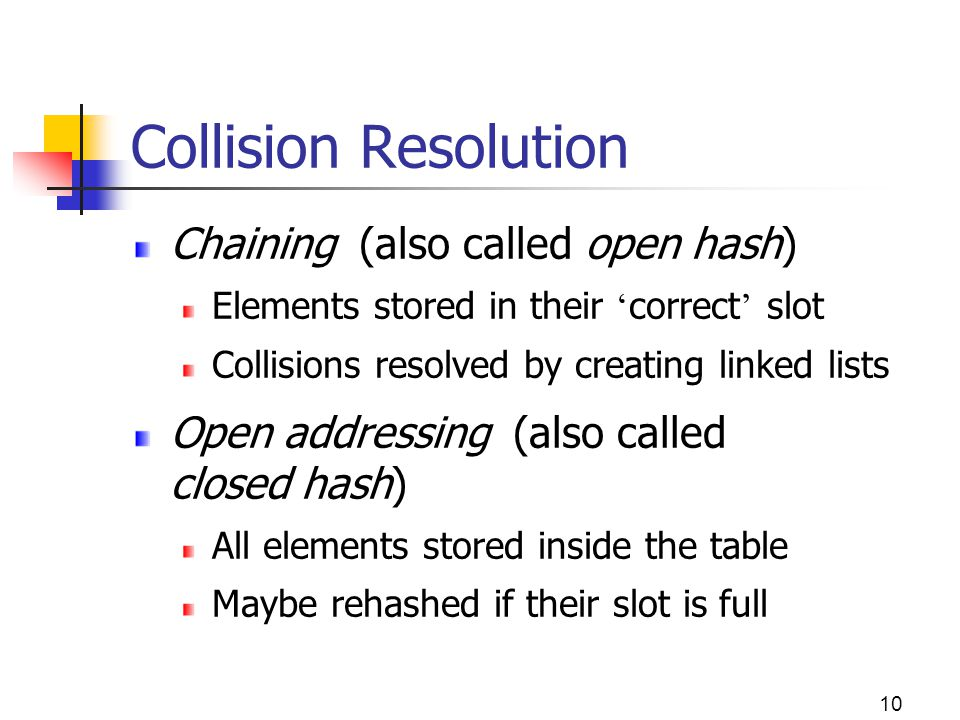 Collision Resolution Chaining (also called open hash)