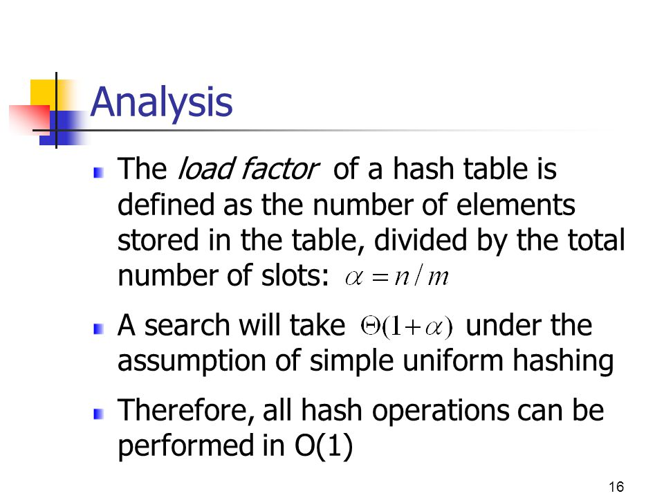 Analysis The load factor of a hash table is defined as the number of elements stored in the table, divided by the total number of slots: