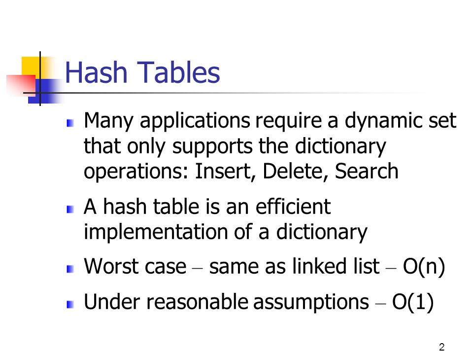 Hash Tables Many applications require a dynamic set that only supports the dictionary operations: Insert, Delete, Search.