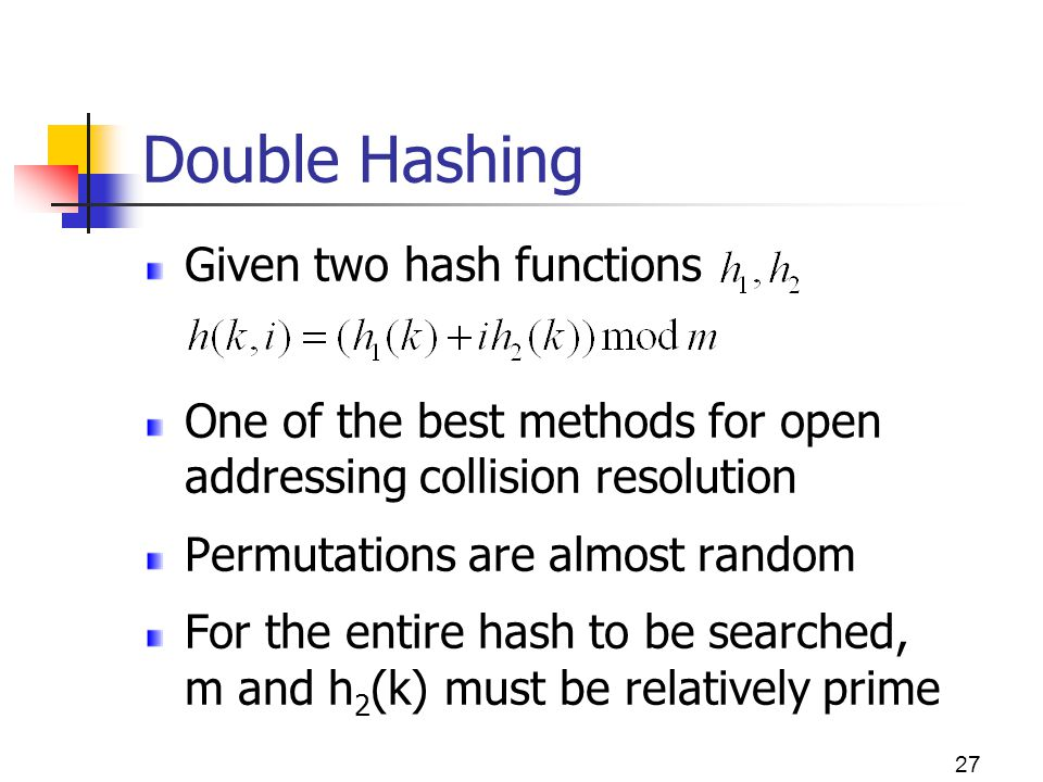Double Hashing Given two hash functions